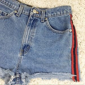Rare Vtg Ralph Lauren Side Stripe High Rise Shorts
